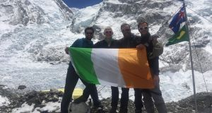 Rory McHugh (second from  right) pictured  at base camp with fellow Irish climbers (from left) Cian O'Brolchain, Terry Kelleher and John Burke