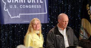 Republican politician Greg Gianforte, with his wife Susan, apologises for his actions towards Guardian reporter Ben Jacob following his election to the US House of Representatives. He has been charged with assaulting Jacob. Photograph: Colter Peterson/Reuters