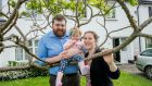 Alastair and Emma White with their daughter Sadbh  was born profoundly deaf and had bilateral cochlear implants put in April and 'switched on' last month. Photograph: Brenda Fitzsimons