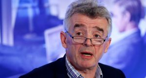 Ryanair chief executive Michael O'Leary: airline this week took its first step in  the long-haul market by partnering with Spanish-based airline Air Europa which will allow its customers to book trans-Atlantic flights on ryanair.com. Photograph: Francois Lenoir/Reuters