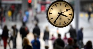 The Swiss  railway clock: the simple, unfussy  look proclaims reliability and order. Photograph: AFP/GettyImages