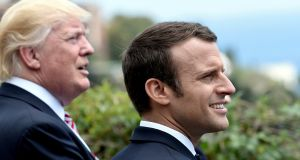 President Donald Trump and French president Emmanuel Macron watch an flying squadron during the G7 Summit in Sicily,  on Friday. Photograph: Stephane De Sakutin/Reuters