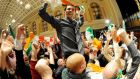 Jonathan O'Brien celebrates his election in Cork. Photograph: Billy MacGill