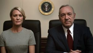 Art imitating life? Robin Wright and Kevin Spacey are back as the US first lady and president in 'House of Cards'.