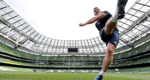 Munster's Ian Keatley takes some kicking practice at the Aviva Stadium on Friday. Photograph: Dan Sheridan/Inpho
