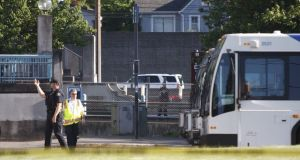 Police investigate a deadly stabbing on a Metropolitan Area Express train in northeast Portland, Oregon. Photograph: Jim Ryan/The Oregonian via AP