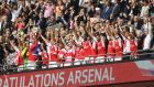 Arsenal celebrate their FA Cup final victory over Chelsea at Wembley. Photograph: Mike Hewitt/Getty