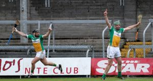 Shane Dooley (L) scored 3-8 during Offaly's win over Westmeath in Mullingar. Photograph: Bryan Keane/Inpho