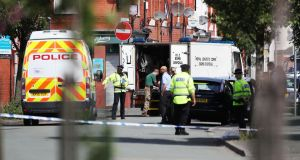 Police activity at a cordon in the Moss Side area of Manchester on Saturday. Photograph: PA