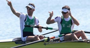 "Shane O'Driscoll and Mark O'Donovan after winning gold:  ""We did it, we beat the Brits, what did I tell ye, said Mark afterwards. Photograph: Martin Divisek/EPA"