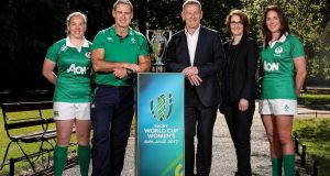 Ireland women's rugby team captain Niamh Briggs, head coach Tom Tierney, Aon's Ian Thornton and  Yvonne Jacobi, and fly-half Nora Stapleton. Photograph: Dan Sheridan/©INPHO