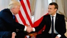 Trump and Macron engage in awkward handshake