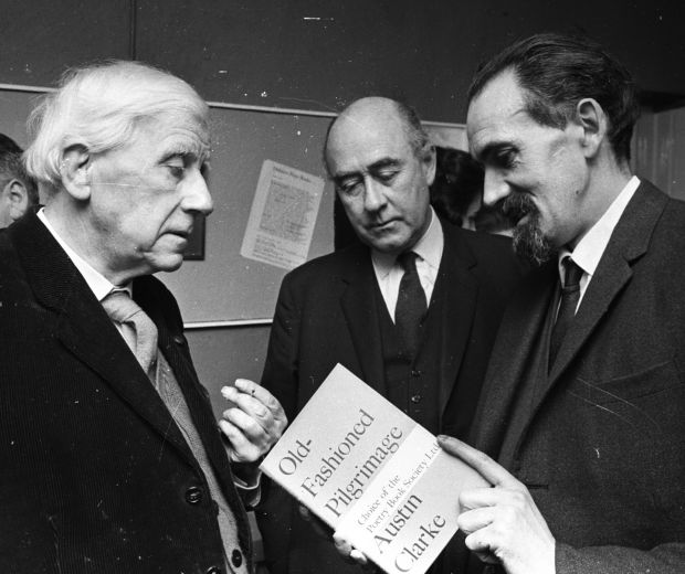 Austin Clarke, Mervyn Wall, secretary of the Arts Council, and Liam Miller on March 3rd, 1967 at the launch of Clarke's Old Fashioned Pilgrimage. Photograph: Gordon Standing