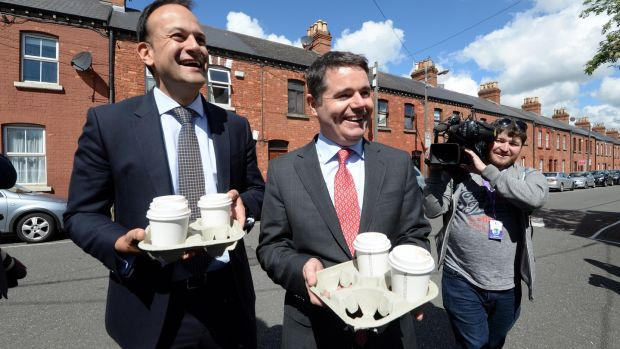 Leo Varadkar and Paschal Donohoe campaign in Dublin. Photograph: Cyril Byrne