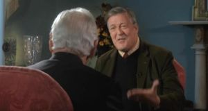 Stephen Fry being interviewed by Gay Byrne for the RTÉ programme 'The Meaning of Life'. Photograph: RTÉ