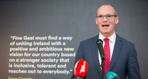 Simon Coveney  at the publication on May 21st of his road map to change Fine Gael, government and the country. Photograph: Kenneth O Halloran