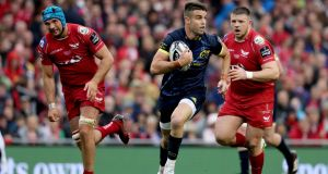 Conor Murray makes a break during the Guinness Pro 12 final against Scarlets at the Aviva Stadium. Photograph: Dan Sheridan/Inpho