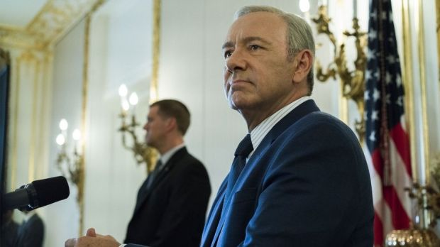 Kevin Spacey as Frank Underwood, the fantasy Democratic president of the Trumpocalyse