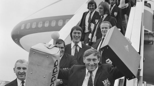 British Lions skipper Willie John McBride is the first off the plane at Heathrow Airport, at the end of a successful tour of South Africa in 1974. Photograph: Getty Images