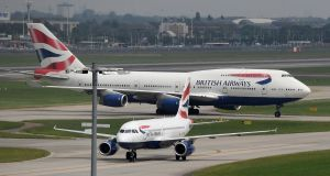 British Airways aircraft at Heathrow Airport in London on Monday. An IT systems failure forced BA to scrap almost 600 flights in and out of Heathrow and Gatwick airports. Photograph: Andy Rain/EPA