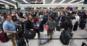 British Airways passengers waiting  at Heathrow airport in London following the  IT failure that  ground almost 600 flights.  Photograph: EPA/Andy Rain