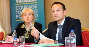 Minister for Social Protection Leo Varadkar and Minister for Arts Heather Humphreys in Mullingar, at the launch of a plan for rural Ireland. Photograph: James Flynn/APX