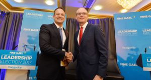 Fine Gael Leadership Candidates Leo Varadkar and Simon Coveney on the Hustings last week. Photograph: Alan Betson