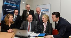 Judging The Irish Times Innovation Awards 2017 were, front row from left: Bebhinn Behan, KPMG; Eric Donald, Teagasc, Dr Marion Boland, Science Foundation Ireland; Michael McAleer, The Irish Times. Back from left, Dr Ciaran Heavey, UCD; Gearóid Mooney, Enterprise Ireland; and Robert Love, AbbVie. Photograph: Dara Mac Dónaill