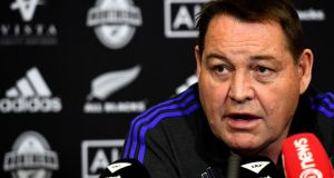 New Zealand's head coach Steve Hansen speaking during a press conference. Photograph: Getty Images