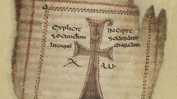 Painted cross/monogram of Christ's nam from 'Codex Usserianus Primus', early 6th century