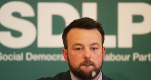 SDLP leader Colum Eastwood during the launch of the party's election manifesto at the Crescent Arts Centre in Belfast. Photograph: Niall Carson/PA