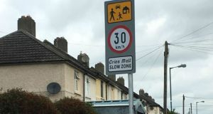 One of the new speed limit signs on St Attracta Road, Cabra. Photograph: Olivia Kelly.