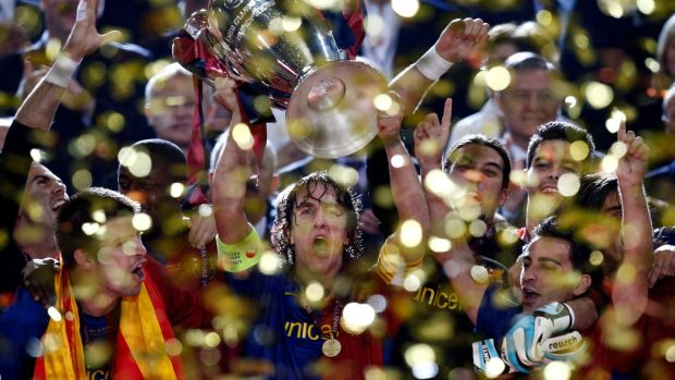 Barcelona's Carles Puyol's ceaseless work ethic helped propel his side to great success. Photograph: Luca Bruno/AP