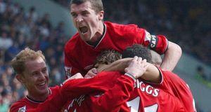 Roy Keane celebrates with Manchester United team-mates in 2002. Sam Walker argues that while Keane provided towering leadership on the field of play, his fiery and unrepentant streak hurt the teams he led in other ways. Photograph: PA