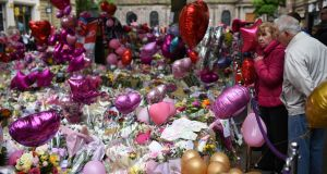 Flowers and messages of support in St Ann's Square,  Manchester, to the victims of the May 22nd  attack at the Manchester Arena. Photograph: Oli Scarff/AFP/Getty Images