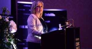 Michelle O'Neill MLA, Leader of Sinn Fein in Northern Ireland speaking at The Irish Times Economic Summit 2017. Photograph: Dara Mac Dónaill / The Irish Times