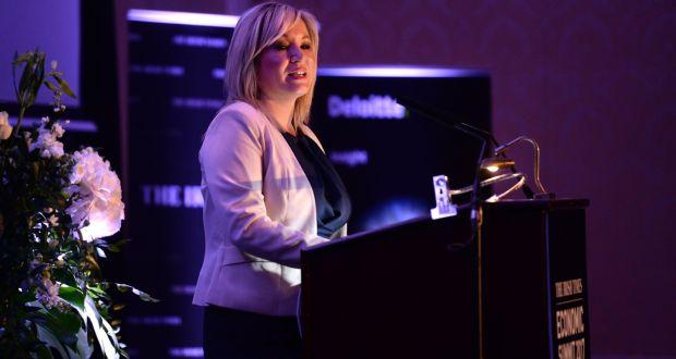 Michelle O'Neill MLA, Leader of Sinn Fein in Northern Ireland speaking at The Irish Times Economic Summit 2017. Photograph: Dara Mac Dónaill / The Irish Times