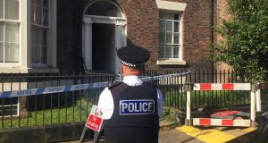 Police cordon on Falkner Street, Toxteth, Liverpool after a 30-year-old man was arrested on suspicion of murder. Photograph: Eleanor Barlow/PA Wire