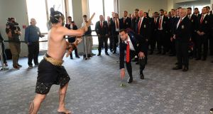 British & Irish Lions captain Sam Warburton accepts the Maori challenge on arrival at Auckland. Photograph: Inpho