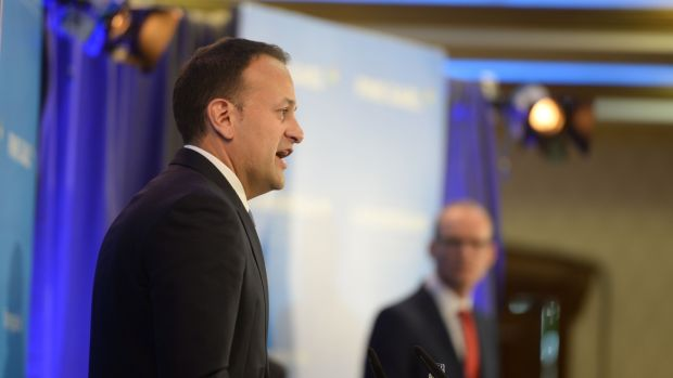 Fine Gael leadership candidates Leo Varadkar and Simon Coveney on the hustings. Photograph: Alan Betson