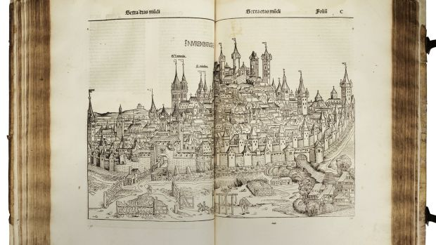 Nuremberg Chronicles, the most elaborate coffee-table book of its day. Dating from 1493, at Sotheby's auction