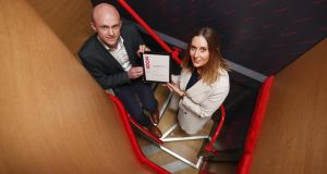 Rosanne Longmore, CEO, Coroflo pictured with Aidan D'Arcy, Head of Business Virgin Media Ireland