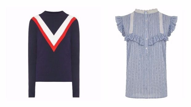 Jumper, €160, MoCo, Brown Thomas; Blouse, €34, Marks and Spencer