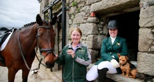 Kate Kerr-Horan with her horse Arlande and her mother Pam Kerr at Broomfield Equestrian Centre,  Tinahely, Co Wicklow. Photograph Nick Bradshaw