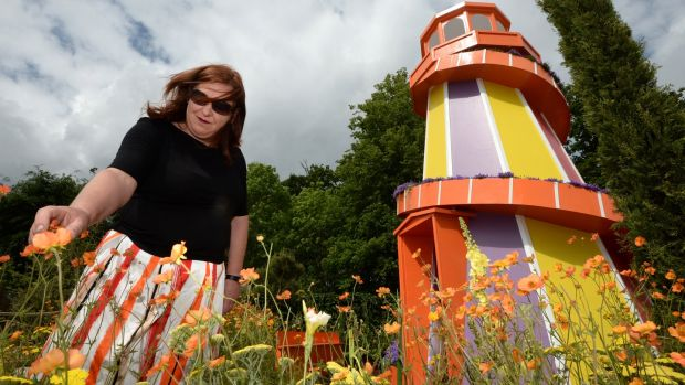 Designer Joan Mallon, at Enable Ireland, 'No Limits' garden in association with Solus Light Bulbs, at a preview of Bord Bia's Bloom. Photograph: Dara Mac Dónaill / The Irish Times