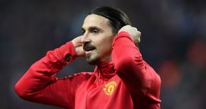 Sterling service: Manchester United's Swedish striker Zlatan Ibrahimovic. Photograph: AFP