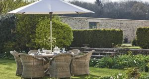 Perfect for any outdoor scheme Neptune's six-seater Bordeaux garden set features a solid teak table, all-weather wicker chairs plus the Antibes parasol, price €4,646