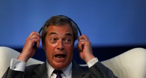 Former leader of UKIP Nigel Farage at a conference in Portugal this week. Photograph: Rafael Marchante/Reuters