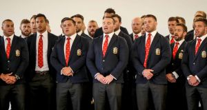 The British and Irish Lions sing Welsh hymm Calon Lân on arrival in New Zealand ahead of a 10-match tour. Photograph: Dan Sheridan/Inpho