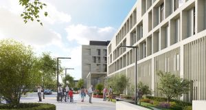 A computer-generated image of the proposed new National Maternity Hospital at the St Vincent's hospital campus in Dublin.